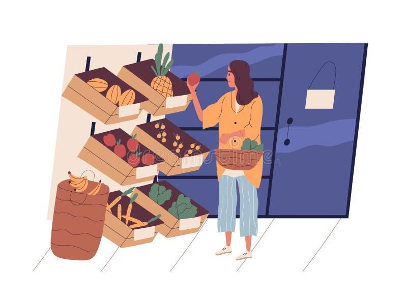 Милая молодая женщина с едой корзины для товаров покупая на гастрономе Смешная девушка выбирая фрукты и овощи на иллюстрация штока