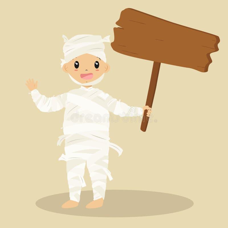 Милая мумия держа деревянный знак, вектор шаржа хеллоуина иллюстрация штока