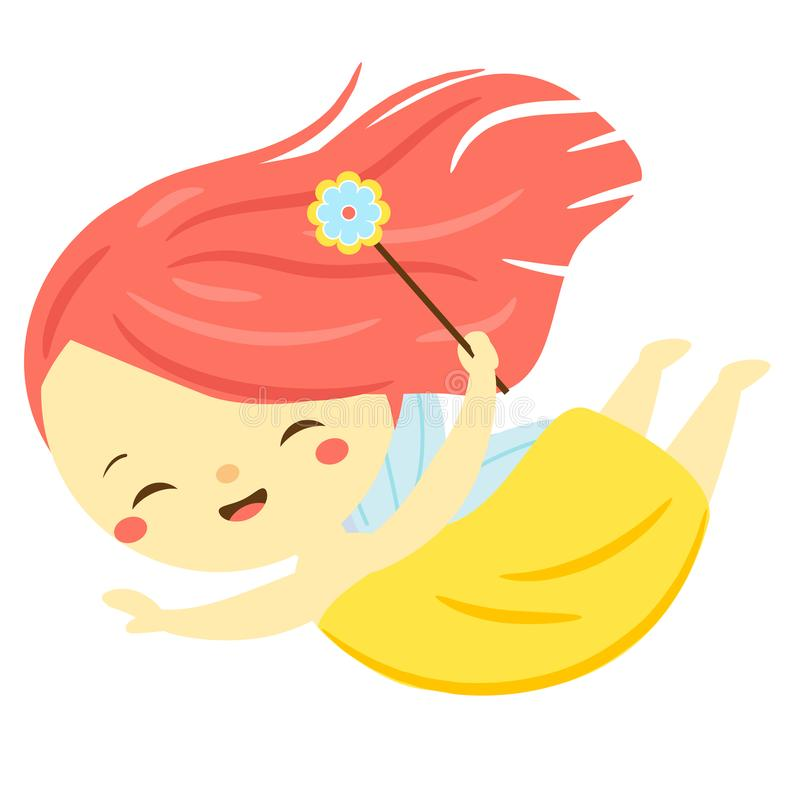 Милая муха феи Эльф сада мультфильма, pixie характер фантазии иллюстрация штока