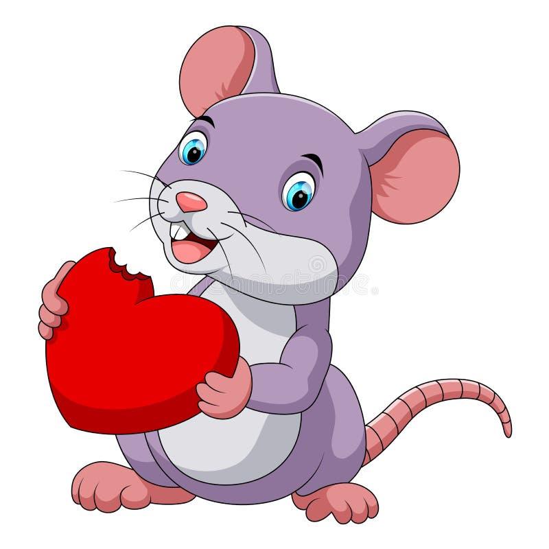 Милая мышь есть красную шляпу иллюстрация вектора