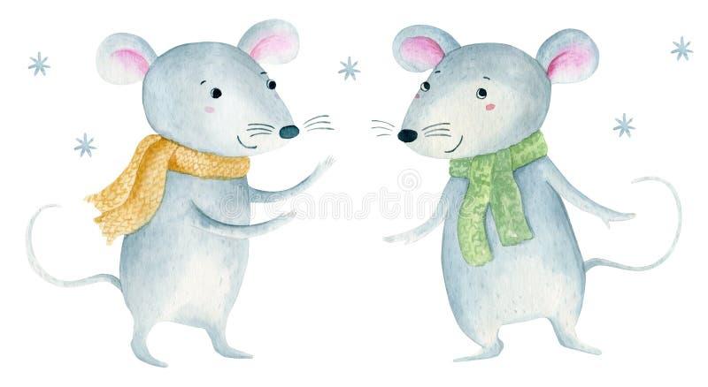 Милая мышь крысы рождества мультфильма Иллюстрация руки акварели вычерченная животная r стоковая фотография rf