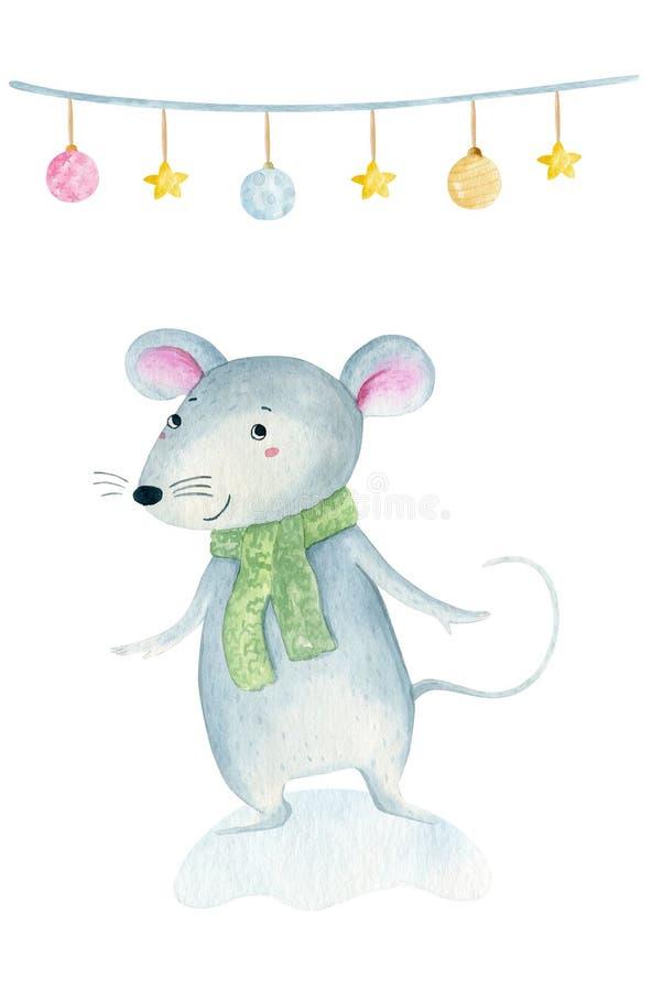 Милая мышь крысы рождества мультфильма Иллюстрация руки акварели вычерченная животная r стоковая фотография