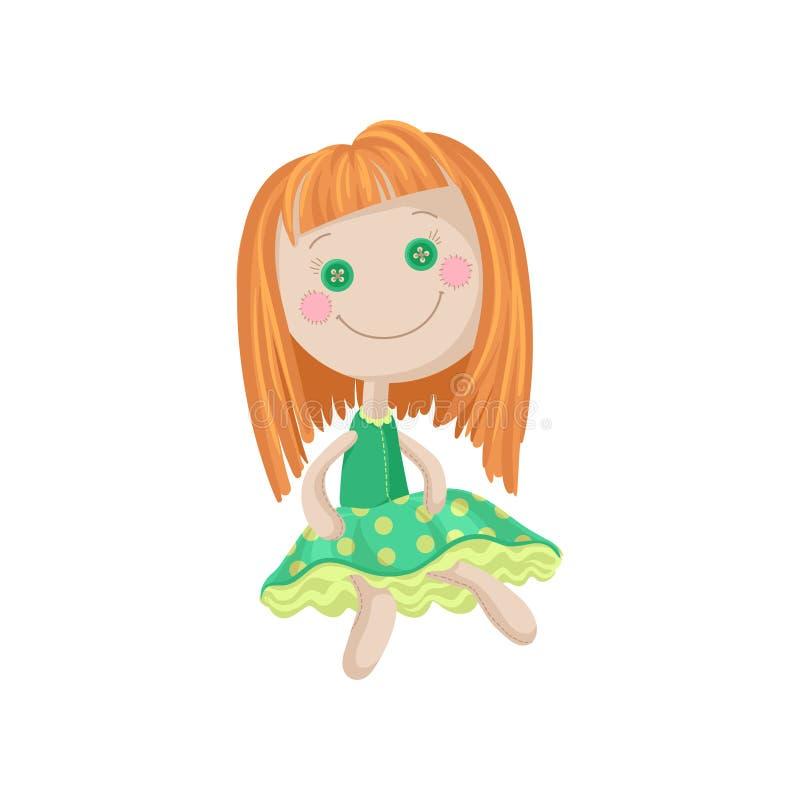 Милая мягкая кукла в зеленом платье, шить иллюстрация redhead вектора шаржа игрушки иллюстрация вектора