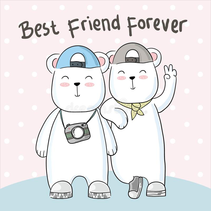 Милая нарисованная рука приятельства медведя иллюстрация штока