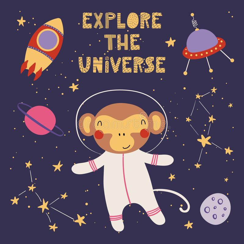 Милая обезьяна в космосе бесплатная иллюстрация