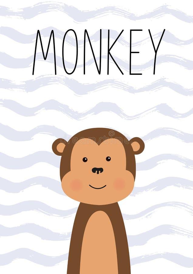 милая обезьяна Плакат, карточка для детей также вектор иллюстрации притяжки corel иллюстрация вектора