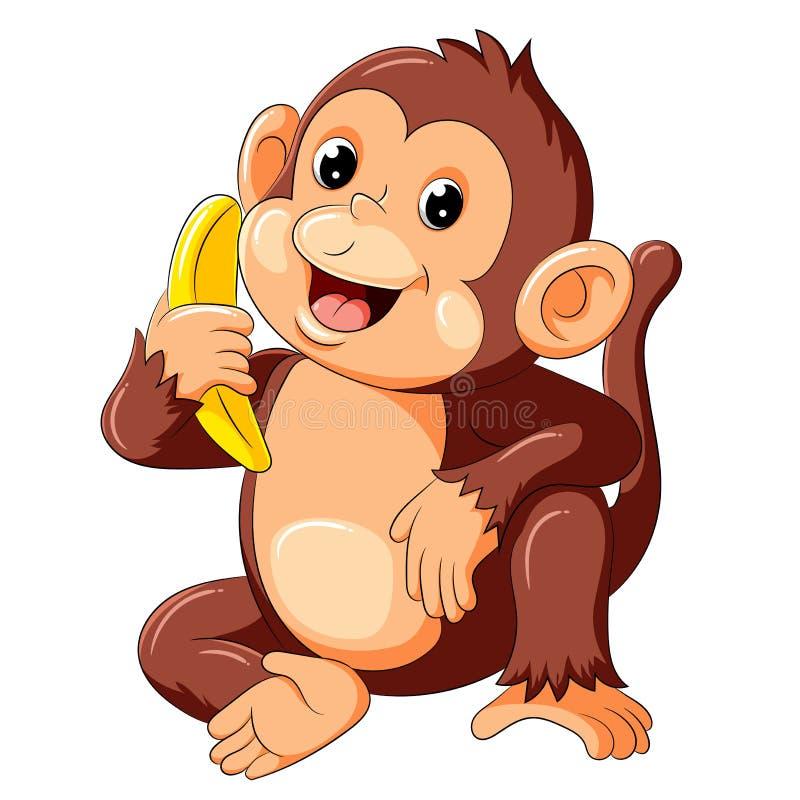 Милая обезьяна сидя и держа банан иллюстрация вектора