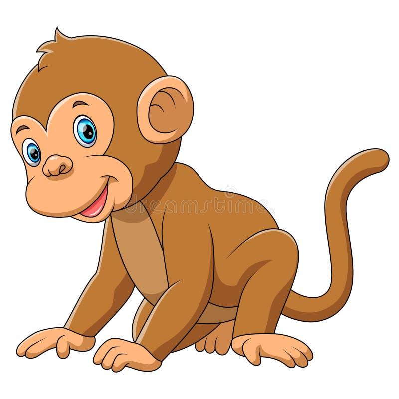 Милая обезьяна с белой предпосылкой бесплатная иллюстрация