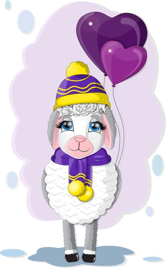 Милая овечка с баллонами иллюстрация штока