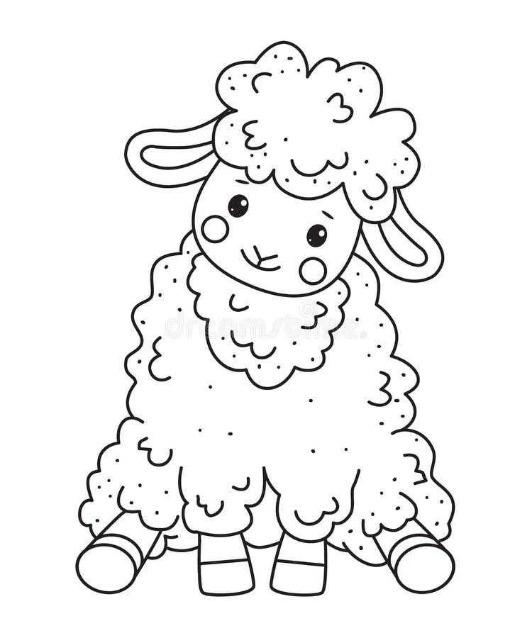 Милая овца doodle плана сидит Элементы нарисованные рукой иллюстрация вектора