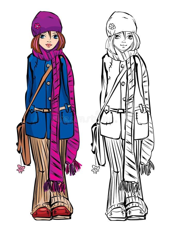 милая одевая зима девушки обнажанная шарфом иллюстрация штока
