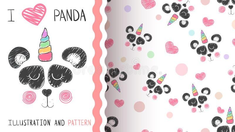 Милая панда, единорог - безшовная картина иллюстрация вектора