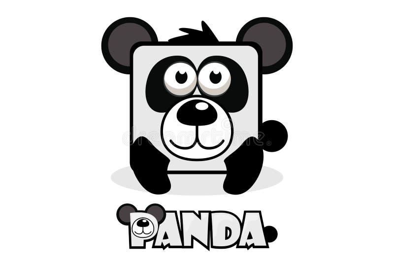 Милая панда квадрата шаржа Установите животных вектора бесплатная иллюстрация