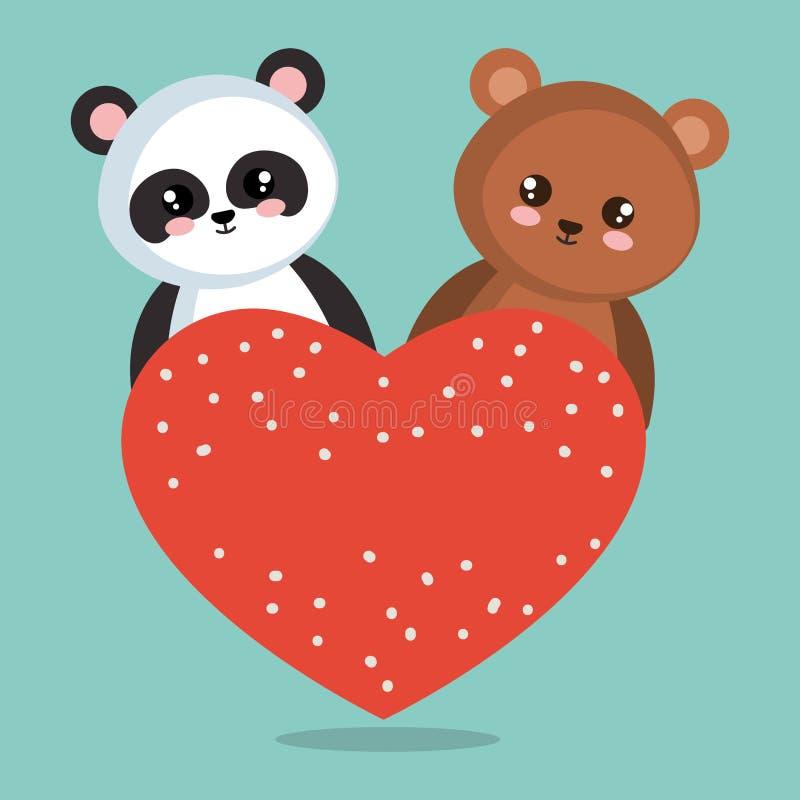 Милая панда медведя с сердцами бесплатная иллюстрация
