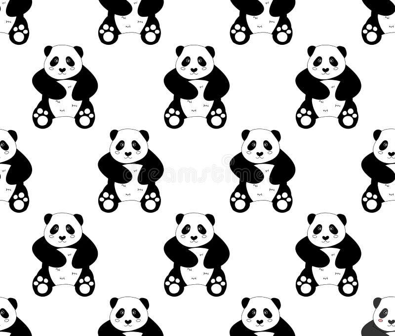 Милая панда на белой предпосылке также вектор иллюстрации притяжки corel иллюстрация штока