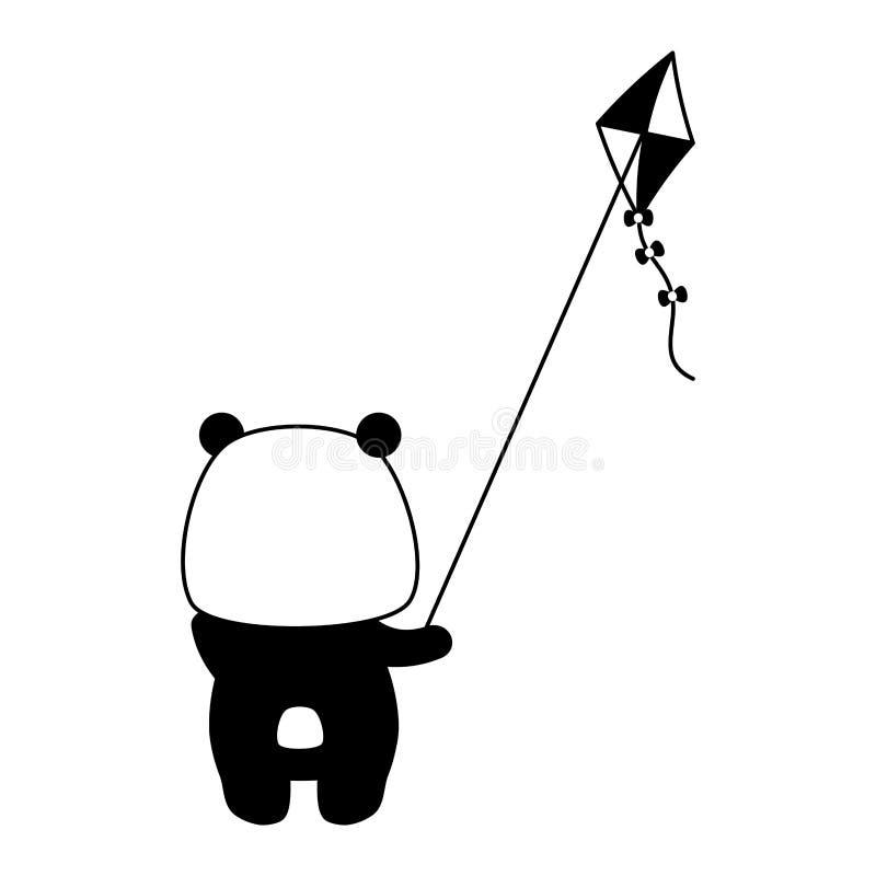 Милая панда с игрушкой змея иллюстрация вектора