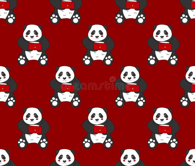 Милая панда с красным письмом на красной предпосылке также вектор иллюстрации притяжки corel иллюстрация штока
