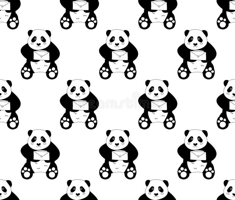 Милая панда с письмом на белой предпосылке также вектор иллюстрации притяжки corel иллюстрация вектора