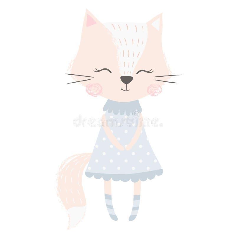 Милая печать девушки лисы Сладостный животный младенец иллюстрация штока