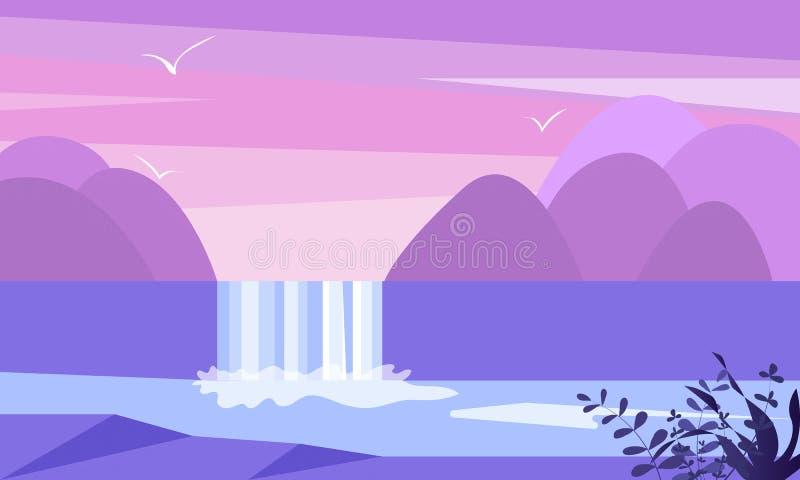 Милая плоская иллюстрация ландшафта с горой, водопадом и озером Вектор потока воды простой иллюстрация штока