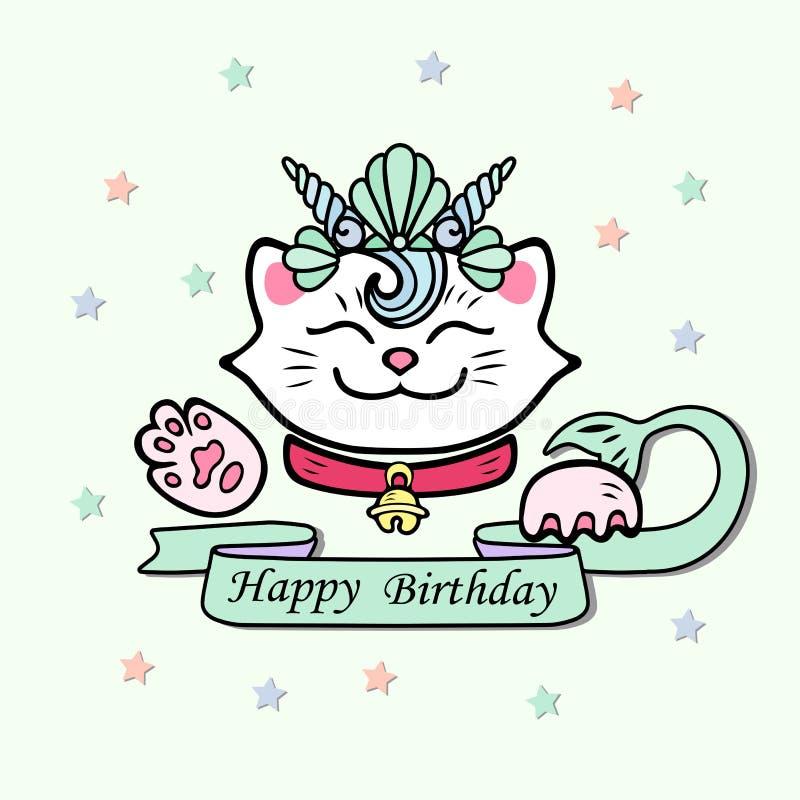 Милая поздравительая открытка ко дню рождения с днем рождений с котом, кроной раковины моря Marimaid иллюстрация вектора