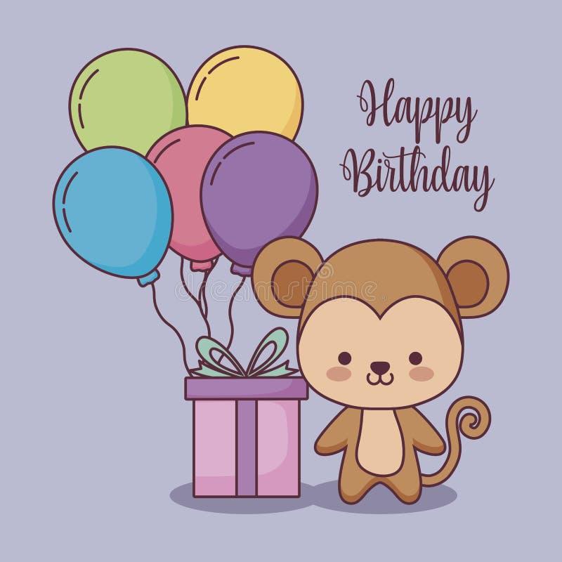 Милая поздравительая открытка ко дню рождения с днем рождений обезьяны с подарком и гелием воздушных шаров бесплатная иллюстрация