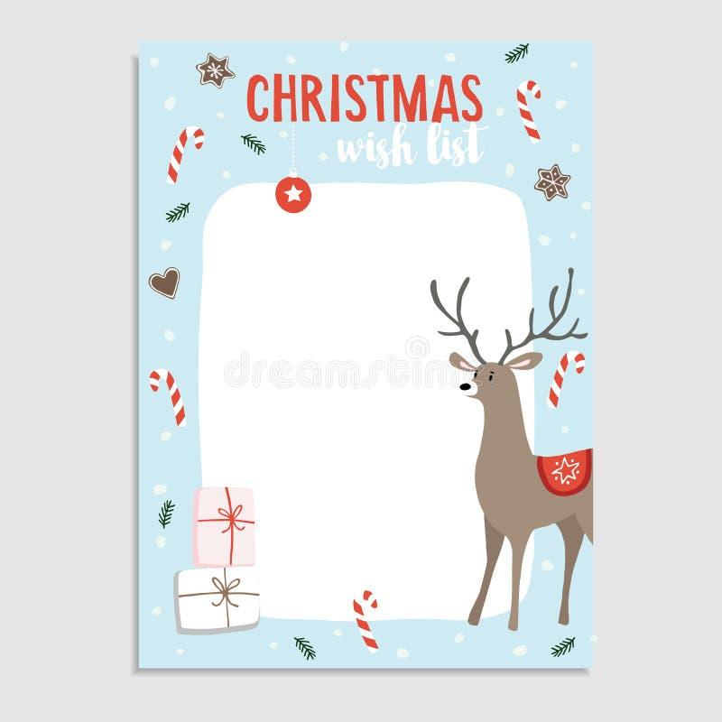 Милая поздравительная открытка рождества, северный олень списка целей с тросточками конфеты, ветвями ели, печеньями пряника, пода бесплатная иллюстрация