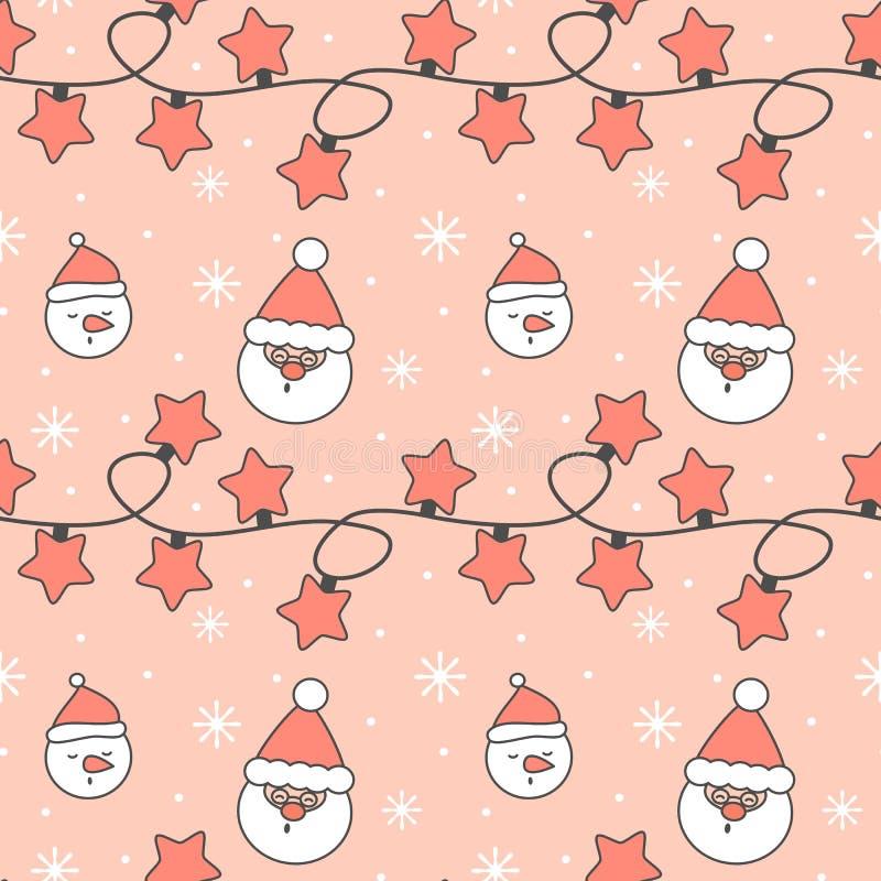 Милая праздничная безшовная иллюстрация предпосылки картины вектора со светами рождества гирляндой, снежинками, Санта Клаусом и с бесплатная иллюстрация