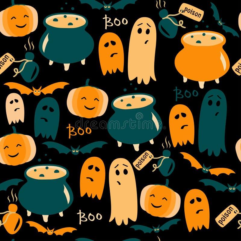 Милая предпосылка хеллоуина с призраками, тыквами и отравой также вектор иллюстрации притяжки corel иллюстрация вектора
