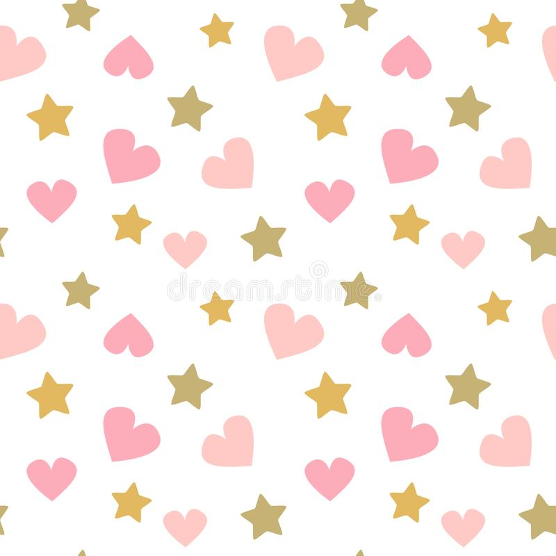 Милая прекрасная безшовная иллюстрация печати младенца предпосылки картины вектора с сердцами пинка doodle и золотыми звездами бесплатная иллюстрация