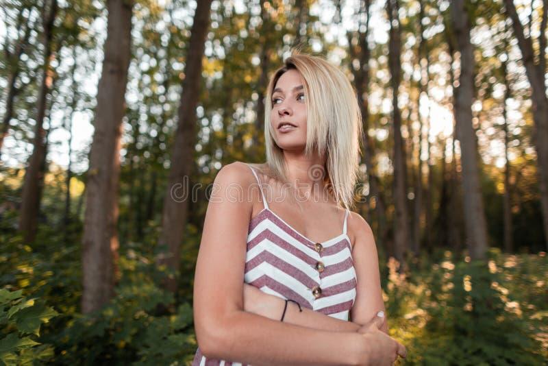 Милая привлекательная молодая женщина со светлыми волосами с голубыми красивыми глазами со сладкой улыбкой в sundress ультрамодно стоковое изображение rf