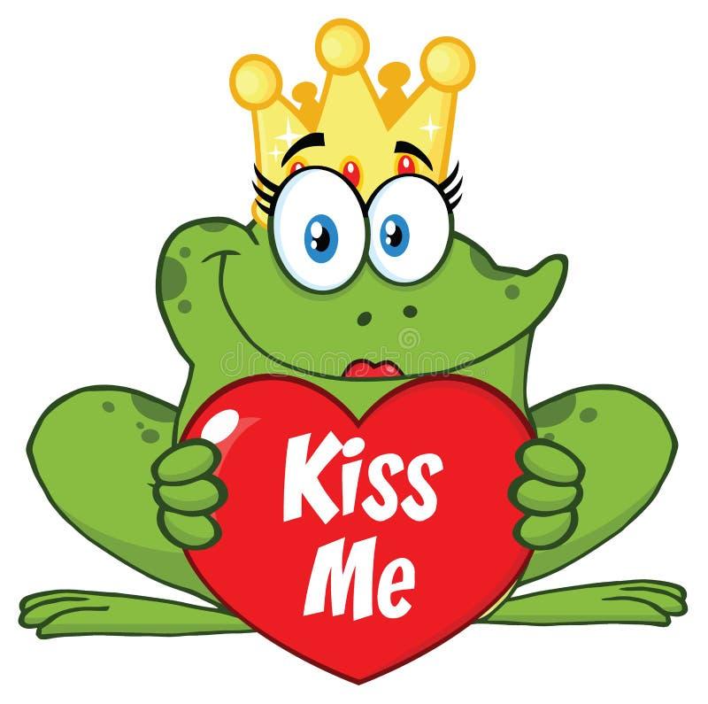 Милая принцесса Лягушка Шарж Талисман Характер при крона держа сердце влюбленности с текстом целует меня иллюстрация штока