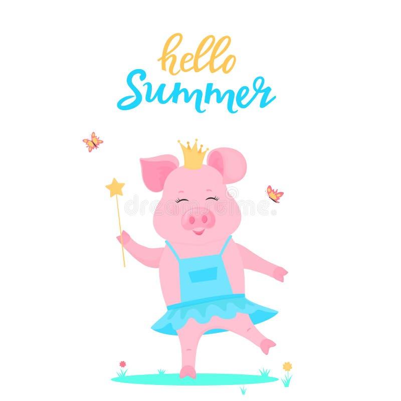 Милая принцесса свиньи в платье с волшебной палочкой в руке сыграна на зеленой лужайке Смешное животное Piggy персонаж из мультфи иллюстрация вектора