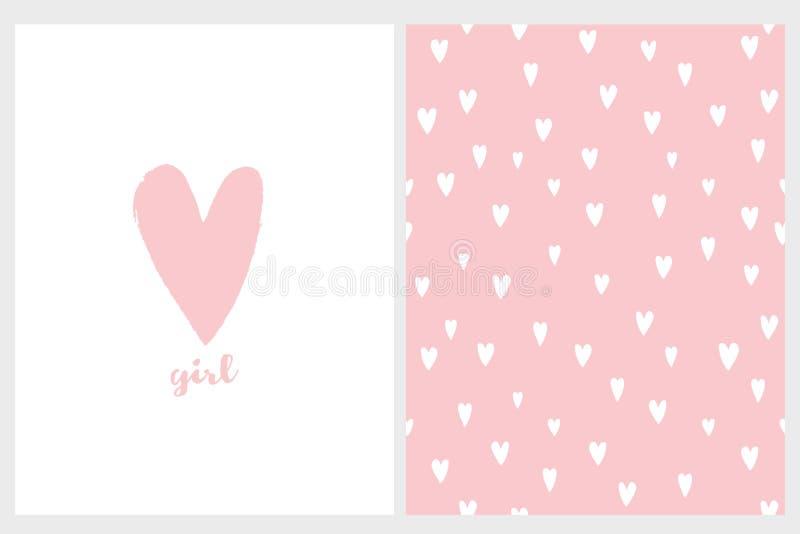 Милая простая карта и картина вектора детского душа Розовое сердце иллюстрация штока