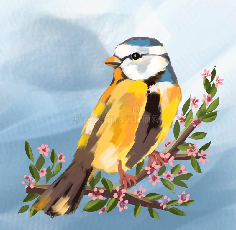 милая птица и весенний сезон и цветки на дереве, милой птице, милых птицах птицы, весне, животных, природе, иллюстрации, рисуя ca иллюстрация вектора