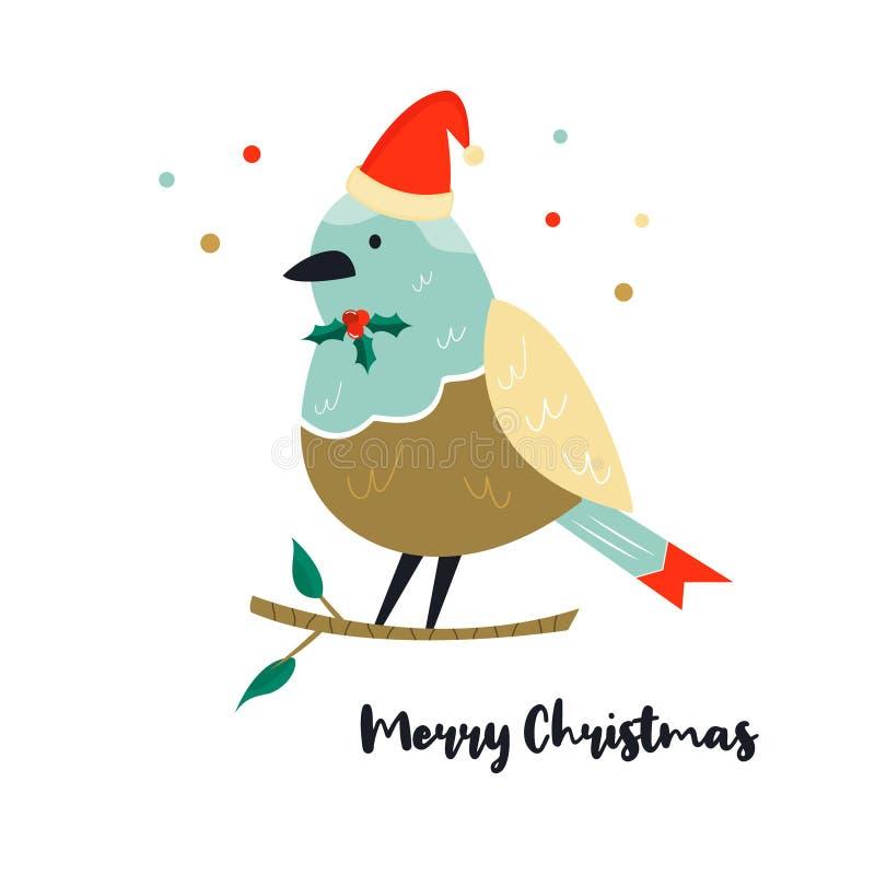 Милая птица робина на иллюстрации рождества ветви бесплатная иллюстрация