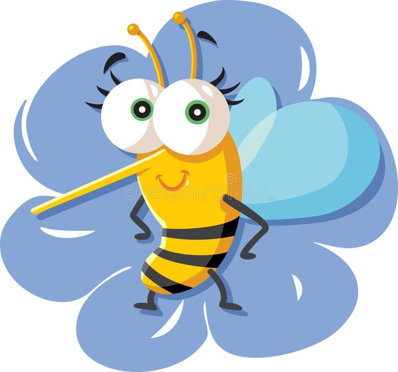 Милая пчела мультфильма сидя на цветке иллюстрация вектора