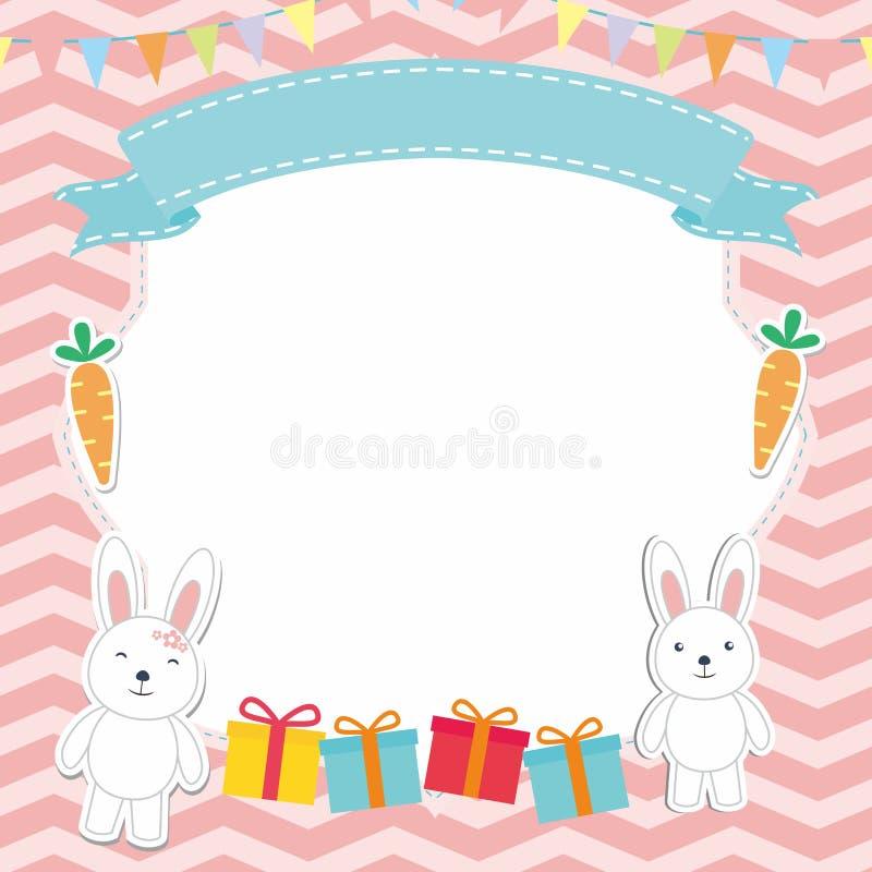 Милая рамка/граница с прелестным вектором кролика/зайчика иллюстрация вектора