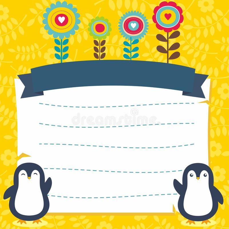Милая рамка/граница с прелестным вектором пингвина бесплатная иллюстрация