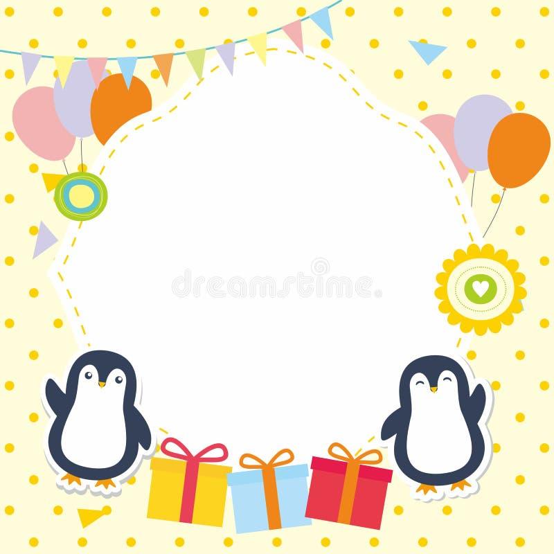 Милая рамка/граница с прелестным вектором пингвина иллюстрация штока