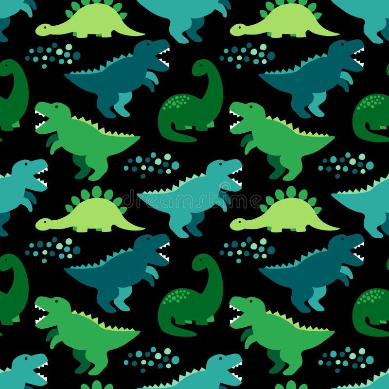 Милая ребяческая безшовная картина с динозаврами идеальными для тканей, обоев и различных поверхностей иллюстрация вектора