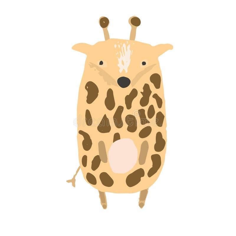 Милая ребяческая коричневая иллюстрация жирафа иллюстрация штока