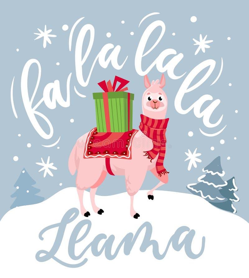 Милая рождественская открытка ламы с надписью литерности иллюстрация вектора