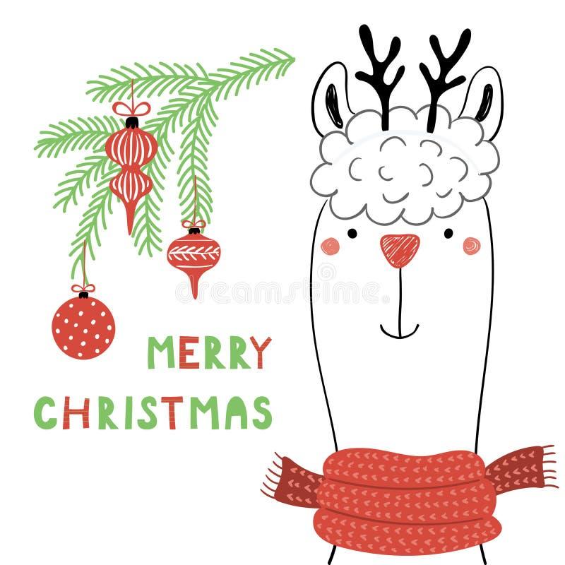 Милая рождественская открытка ламы иллюстрация штока