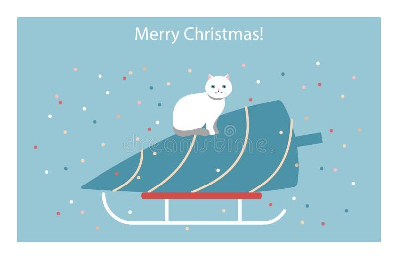 Милая рождественская открытка с котом и рождественской елкой вектор иллюстрация вектора