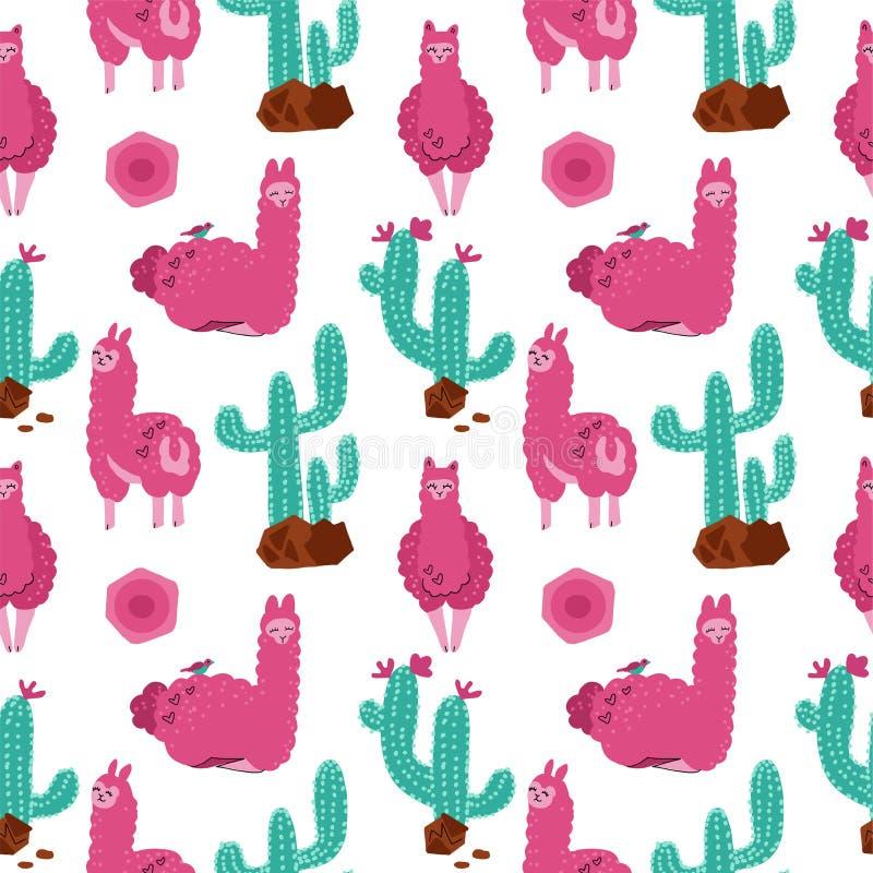 Милая розовая альпака с картиной кактусов безшовной на белой предпосылке Иллюстрация животной руки младенца вектора вычерченная д иллюстрация вектора