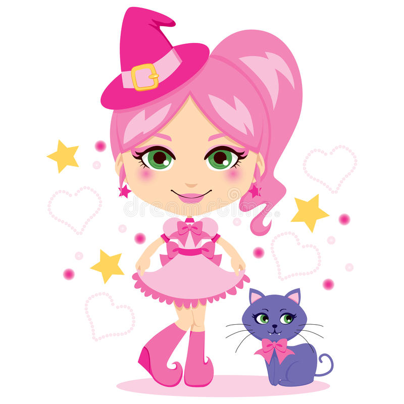 милая розовая ведьма бесплатная иллюстрация