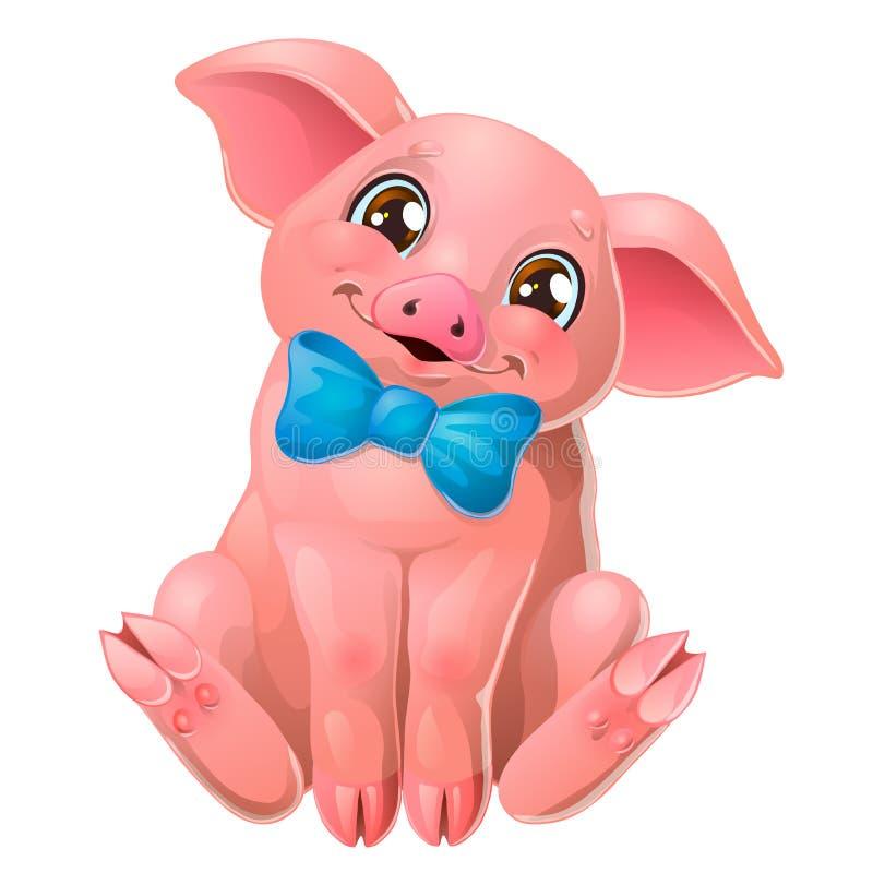 Милая розовая свинья со смычком сидит на белом иллюстрация штока