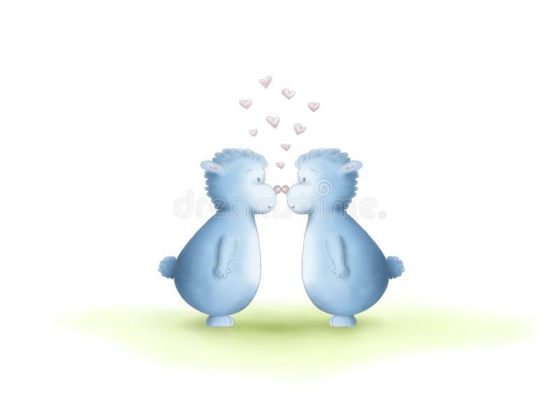 2 милая рука нарисованная, нейтраль рода, голубые твари фантазии, равные сексы, показывая любовь путем тереть носы иллюстрация штока
