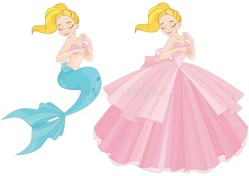 Милая русалка со светлыми волосами иллюстрация штока
